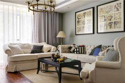 泰合慢城八島簡歐110平三居室客廳裝修案例