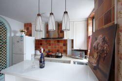 126平米三居室田園風格廚房裝修效果圖片