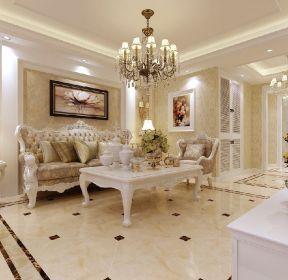 城市玫瑰園70平歐式風格客廳地板磚裝修設計圖-每日推薦