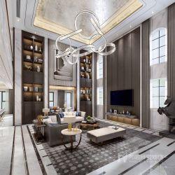 曦城別墅1400平現代風格客廳吊頂設計圖