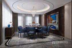曦城別墅1400平現代風格餐廳圓形吊頂效果圖片