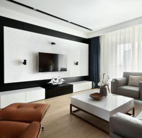 120平港式風格四居客廳電視背景墻裝修設計效果圖-每日推薦