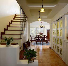 和泓四季220平面美式鄉村復式樓梯裝修效果圖-每日推薦