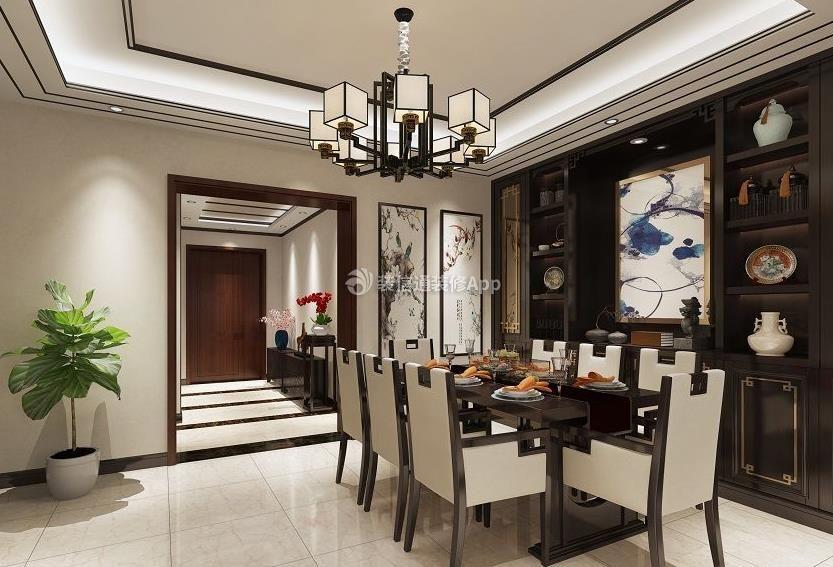 家装效果图 中式 遂宁大院背书202平新中式风格餐厅壁柜设计图 提供者