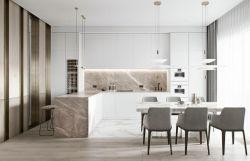150平米房子輕奢風格廚房餐廳裝修設計圖片