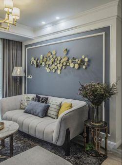 小戶型美式風格新房客廳沙發創意背景墻裝修圖片