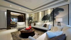金科十年城135㎡新中式客廳背景墻裝修效果圖