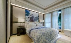 金科十年城135㎡新中式臥室背景墻裝修效果圖