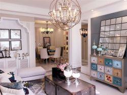 地中海風格110平三居室客廳裝修效果圖片大全