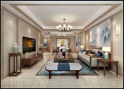 香島御墅300平新中式別墅客廳家具沙發布置效果圖
