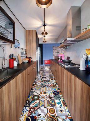 混搭廚房裝修效果圖 一字型廚房設計圖