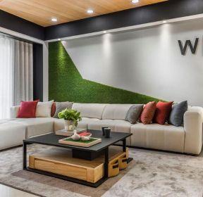 時尚混搭風格客廳沙發創意背景墻裝修圖片2019-每日推薦