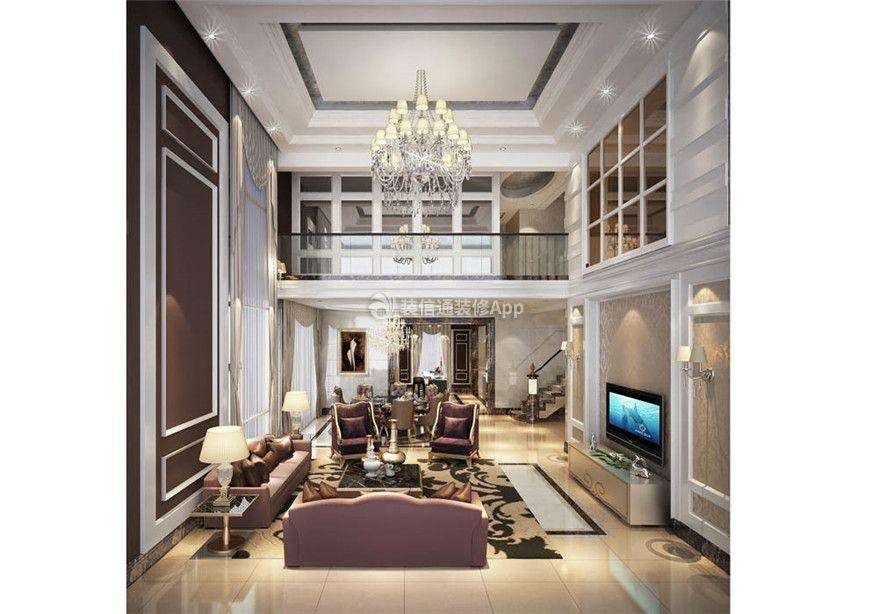 家装效果图 欧式 万城一品公馆复式200平欧式风格中空客厅吊顶设计图片