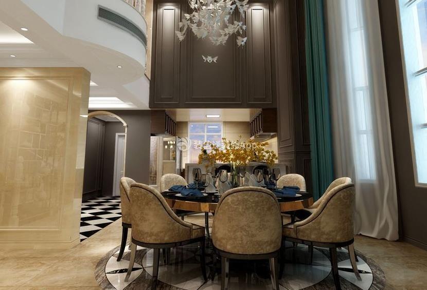 山语表头600平斜线美式世家挑高别墅设计图wps中风格的餐厅怎么绘制图片