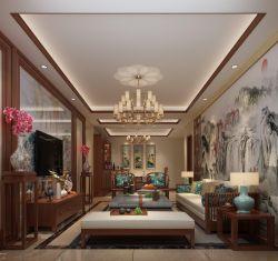 三居室110平中式風格客廳裝修效果圖片賞析