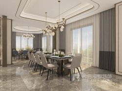 仙湖現代1000平別墅餐廳裝修案例