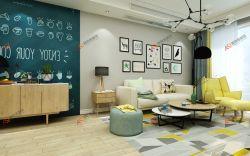 現代簡約風格二居94平客廳沙發家裝設計效果圖