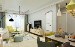 現代簡約風格二居94平客廳家裝設計效果圖