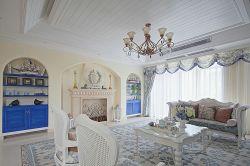 藍色地中海風格130平米三居室客廳電視墻樣板房設計