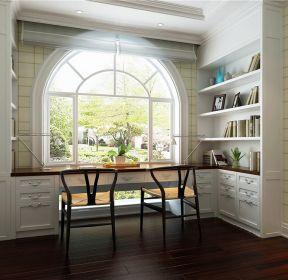 錯層201平美式風格書房窗臺書桌設計圖-每日推薦