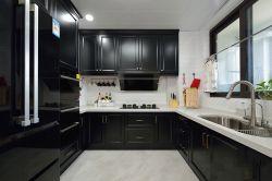 簡約美式125平米四居室廚房黑色櫥柜設計圖片