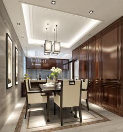四居220平新中式風格餐廳壁柜設計效果圖