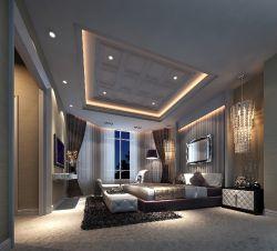 美式别墅风格420平米别墅外墙吊顶装修设计图卧室乡村玻璃效果图图片
