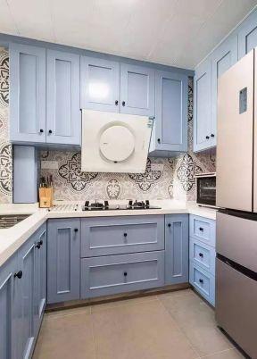 美式風格廚房圖片  藍色櫥柜裝修效果圖片