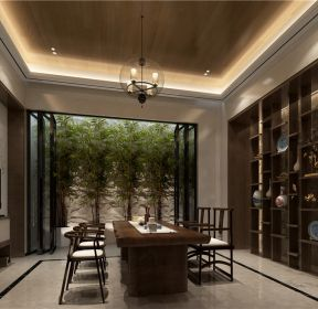 別墅650平新中式風格茶室背景墻博古架設計圖片大全-每日推薦