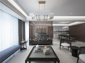 170平新中式风格三居室家居客厅电视背景墙隔断设计图图片