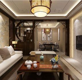 90平米二居中式風格客廳博古架隔斷效果圖-每日推薦