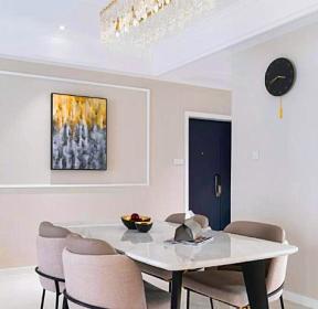 120平米三室兩廳現代風格餐廳水晶燈裝修圖片-每日推薦