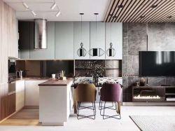 現代簡約風格101平米三居室廚房餐廳設計圖片