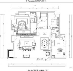 150平米四居室新中式风格户型图-每日推荐