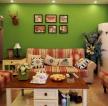 田園風格108平米三居室客廳背景墻裝修效果圖