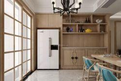 三居140平新中式風格餐廳背景墻壁柜設計效果圖片