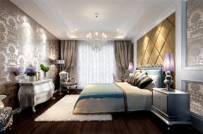 歐式臥室設計效果圖 歐式臥室軟包背景墻設計