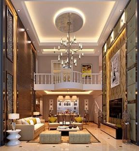 歐式挑高客廳裝修效果圖 復式樓客廳圖片