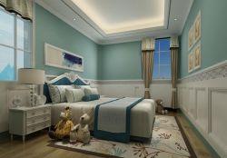 四室兩廳155平美式風格臥室背景墻石膏線裝飾圖片