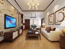 二居94平新中式風格客廳裝修設計圖