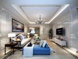 三居93平美式風格客廳裝修設計圖