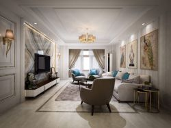 二居93平歐式風格客廳裝修效果圖