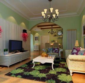三居110平美式田園風格客廳裝修效果圖-每日推薦