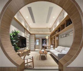 日式客廳設計效果圖 日式客廳電視墻裝修圖