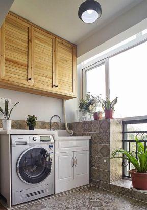 陽臺洗衣機組合柜裝修效果圖 陽臺洗衣機一體柜