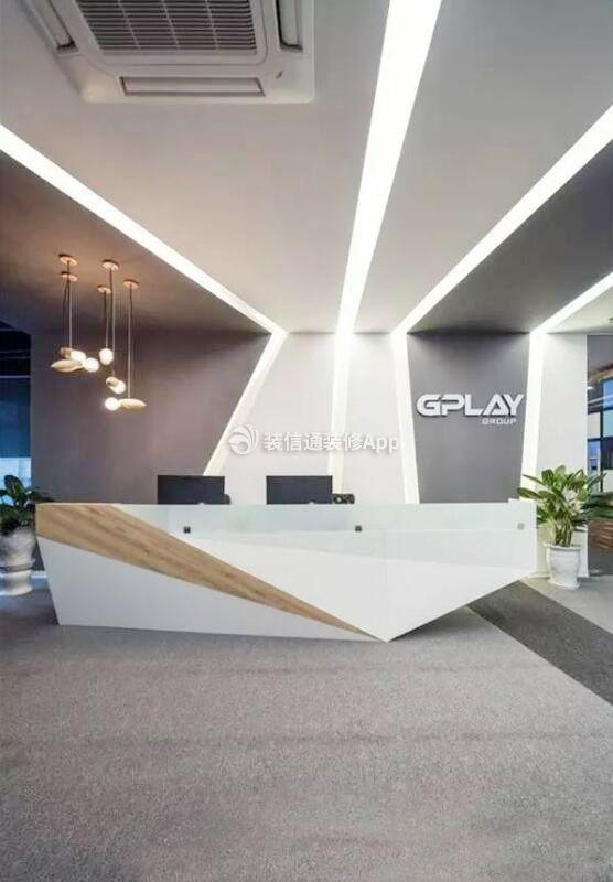 公司办公室前台形象墙装修效果图片_装修123效果图