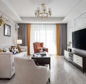 三居110平现代美式风格客厅装修效果图-每日推荐