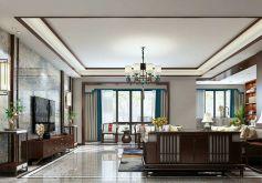 悅龍灣新中式140平米三居室裝修設計效果圖