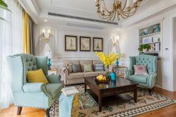 三居113平美式風格客廳裝修設計圖