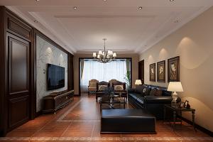 三居室122平美式风格家装案例